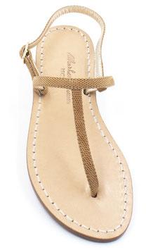 """sandali artigianali infradito """"Ermes""""colore cuoio chiaro effetto lucido."""