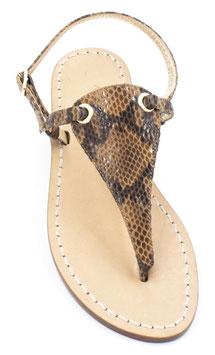 """Sandali  artigianali modello """"Venere"""" pitonato colore cuoio."""