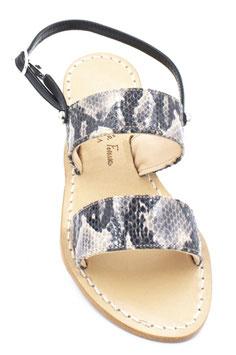 """Sandali a due fasce modello """"Capri"""" colore pitonato, beige-nero."""