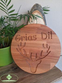 "Schild - ""Hirsch - Grias Di!"""
