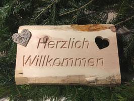 Zirbenholz Willkommens-Schild