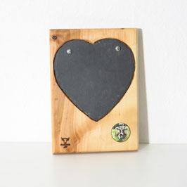 Schieferherz in Holz eingearbeitet  mit Motivträger verschiedene Ausführungen erhältlich  incl. Kreidestift