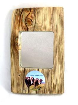 Altholz mit Spiegel undMotivträger zur Wandmontage