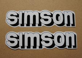 SIMSON Tank Aufkleber weiß/schwarz/silber