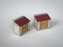 コンクリート製ゴミ箱 2セット入り(1/80)カラー