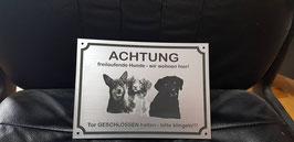Warnschild mit Foto (2-3 Hunde)