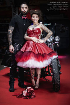 Robe de mariée courte en cuir rouge BETTY