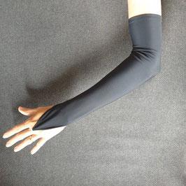 Mitaine de soirée noir mat polyester stretch 45cm