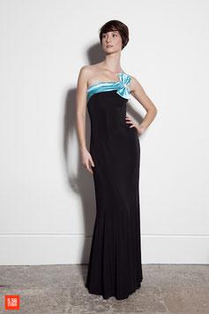 Robe de soirée, longue, fourreau, SCULPTURE, stretch, noir, satin turquoise