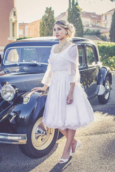 Robe de mariée courte, FIFTIES, retro, pin-up, dentelle, strass