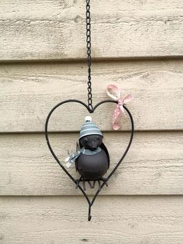 Aufhänger Herz mit Vögelchen