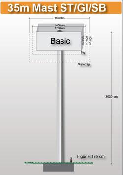 H 35.00 m Werbemast mit einer Viereck-Werbeebene