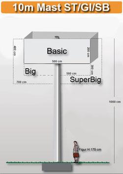 H 10.00 m Werbemast mit einer Viereck-Werbeebene