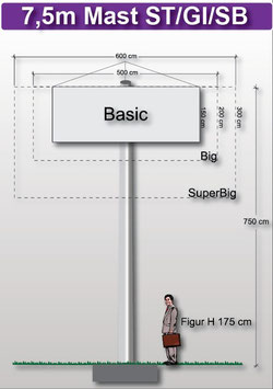 H 7.50 m Werbemast mit einer Dreieck-Werbeebene