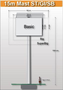 H 15.00 m Werbemast mit einer Viereck-Werbeebene