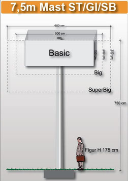 H 7.50 m Werbemast mit einer Viereck-Werbeebene
