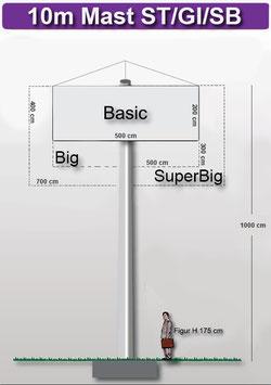 H 10.00 m Werbemast mit einer Dreieck-Werbeebene