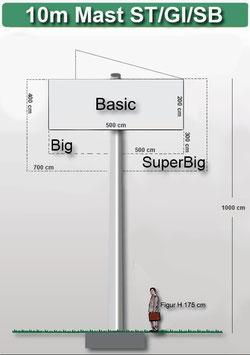 H 10.00 m Werbemast mit einer Werbeebene, Pflug 45°