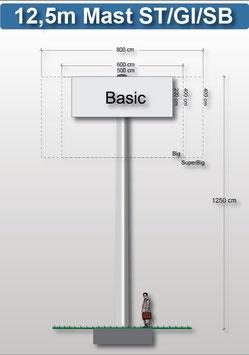 H 12.50 m Werbemast mit einer Werbeebene Rechteck