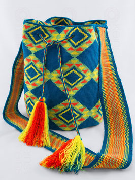 Mochila Wayúu ROMBOS AZUL
