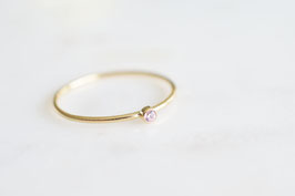 Mini Solitaire Ring mit pinkem Zirkoniastein