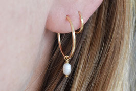 ARIELLE Pearl Hoop Earrings