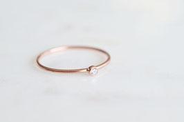 Mini Solitaire Ring in roségold mit weissem Zirkoniastein