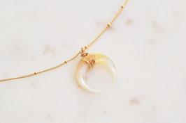 Horn Halskette mit Perlmutt