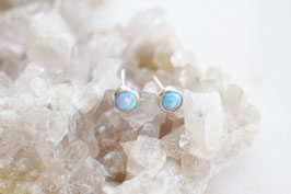 Little Gemmie Ohrstecker mit Blue Opal (3mm) SS 925