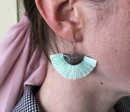 Boucles d'oreilles Eventail demi-lune Vert d'eau/Argenté