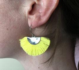 Boucles d'oreilles Eventail demi-lune Jaune/Argenté
