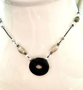 Collier Black Agathe et perles en Argent et Cristal