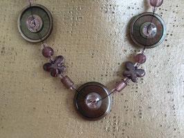Collier Boutons Nacre/Cristal swarovski mauve irisé/rosaline