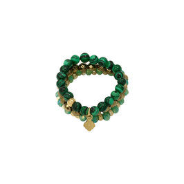 Bague 'Beads and Clover""