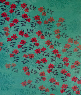 Papier vert orné de fleurs rouges - SPECIAL NOËL