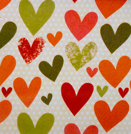 Papier origami - Coeurs dessinés - Lot de 3