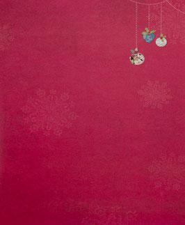 Papier rouge orné de boules - SPECIAL NOËL