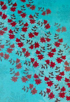 Papier bleu orné de fleurs rouges - SPECIAL NOËL