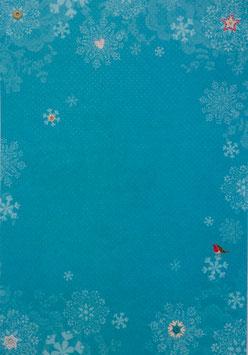 Papier bleu orné de flocons - SPECIAL NOËL