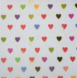 Papier origami - Coeurs- Lot de 3