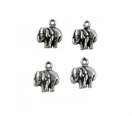 6 Breloques Eléphants - Argent vieilli