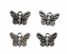 6 Breloques Papillons - Argent vieilli