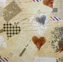 Papier origami - Coeurs vieillis - Lot de 3