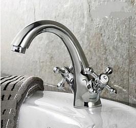 Bad Armatur Waschbecken Waschtisch Wasserhahn Messing Chrom Klassischer Stil Zweigriffmischer Zweihandmischer