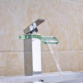 Bad Armatur Waschbecken Einhebelmischer Wasserfall Wasserhahn Messing Chrom Glas