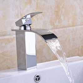 Bad Armatur Waschbecken Einhebelmischer Wasserhahn Wasserfall Messing Chrom