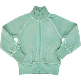 Maxomorra Cardigan Zip Velour Soft Teal