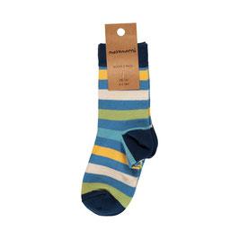 Maxomorra Socks 2-Pack Stripe Ocean
