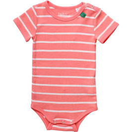 By Green Cotton Fred's World Stripe Body Kurzarm Coral