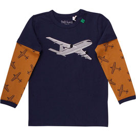 By Green Cotton Fred's World Airplane Langarmshirt
